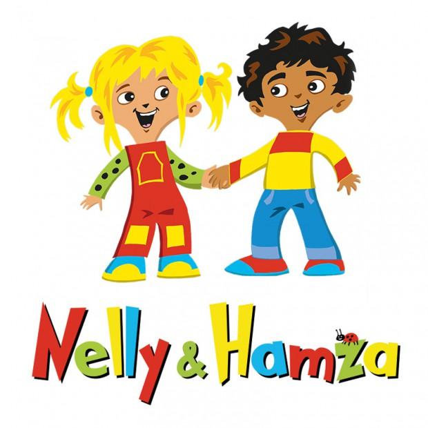 Nelly og Hamza logo med figurene